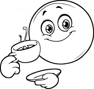 Coffee smiley emoticon coloring page