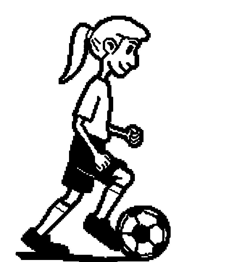 Cold Girl Playing Soccer Football Coloring Page