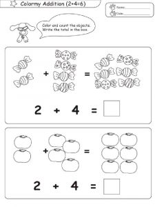 Color and count addition worksheets