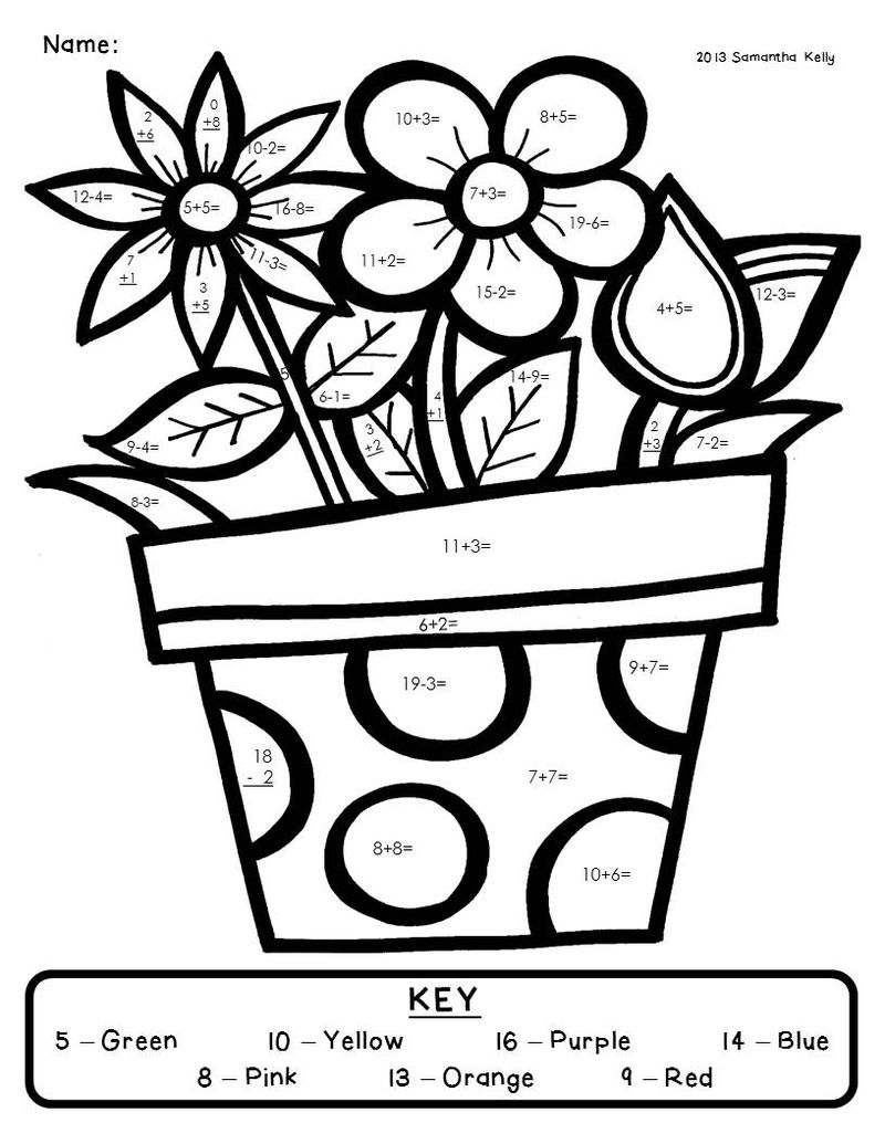 Color By Addition Free Worksheet
