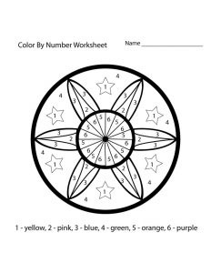 Color by numbers worksheet circle