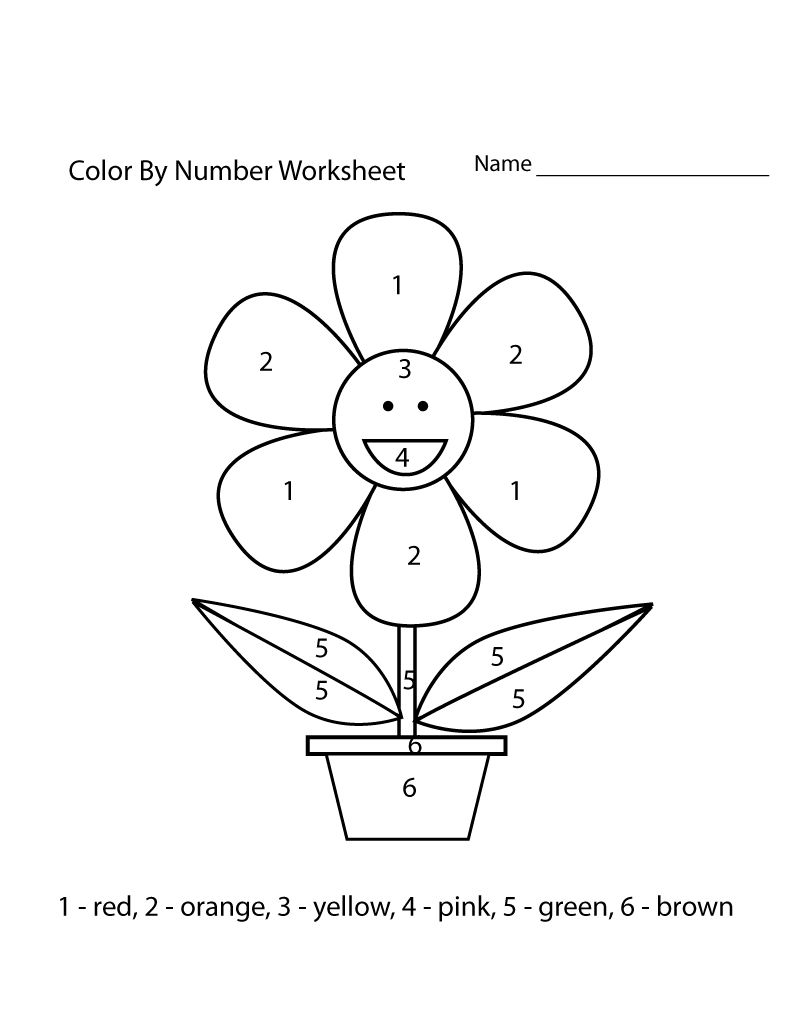 Color By Numbers Worksheets Easy 001