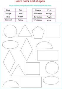 Color by shape worksheet for kids 001
