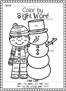 Color by sight word coloring for kindergarten