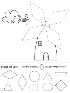 Color the shapes worksheet diamonds 001