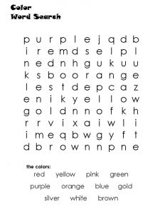 Color wordsearch for kindergarten