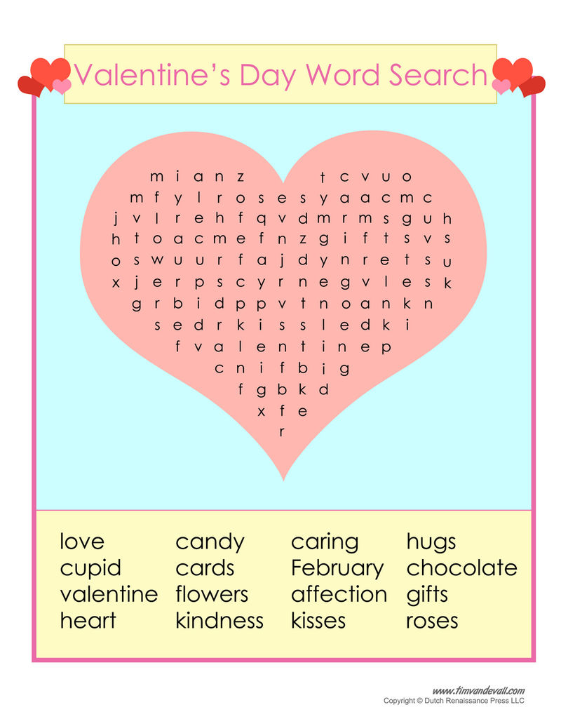 Colorful Valentine Word Search