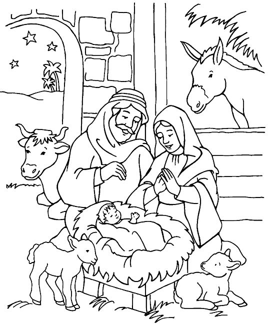 Coloring Nativity Joseph Mary And Jesus