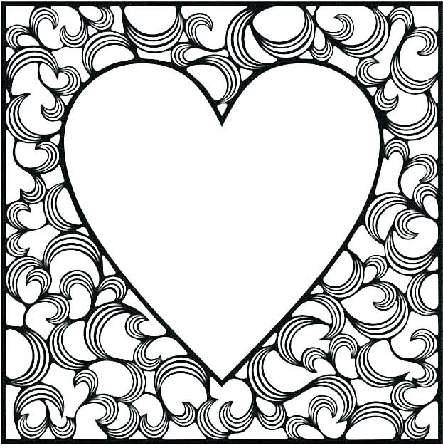 Coloring Page For Adults Hearts