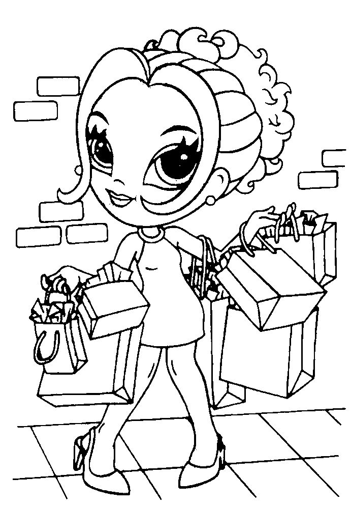 Coloring Pages For Girls Shopping 001