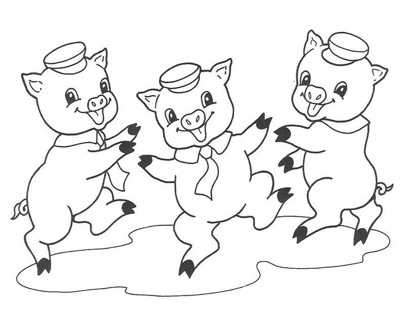 Coloring Sheet 3 Little Pigs Cartoon 001