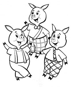 Coloring sheet 3 little pigs for kindergarden 001