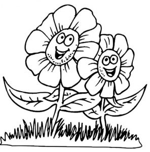 Coloring worksheet flowers