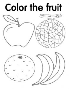 Coloring worksheets for kindergarten fruit