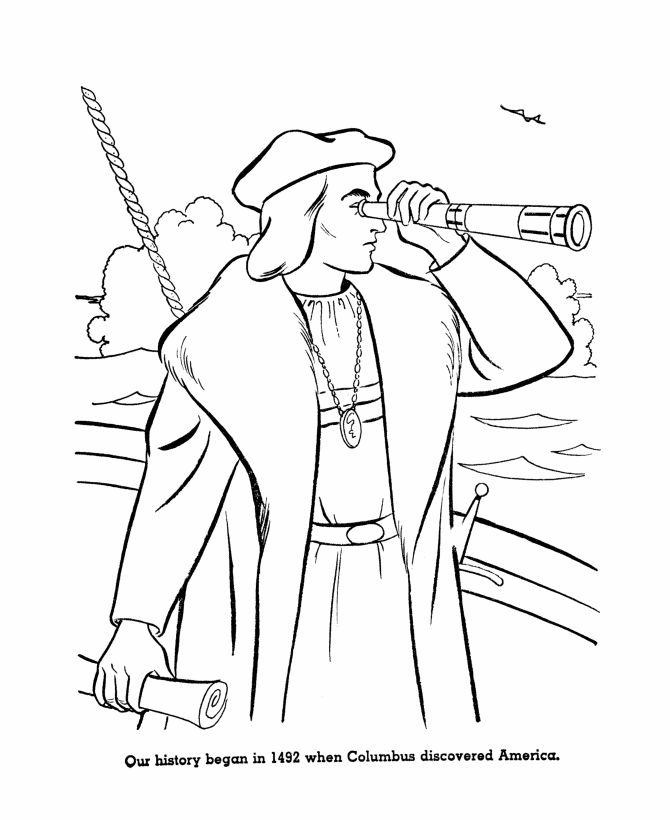 Columbus Day Coloring Page 2