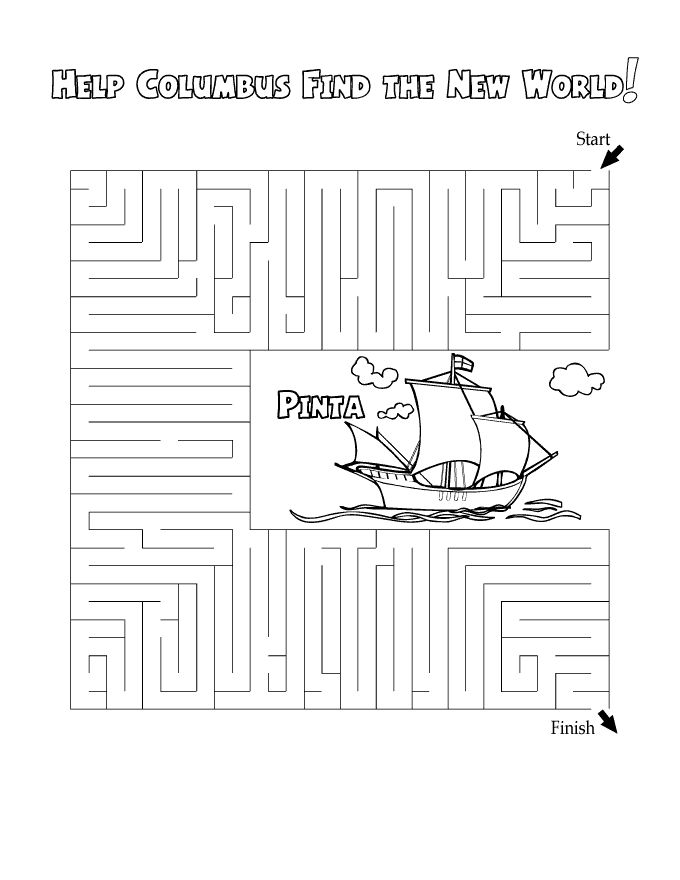 Columbus Day Maze Worksheet