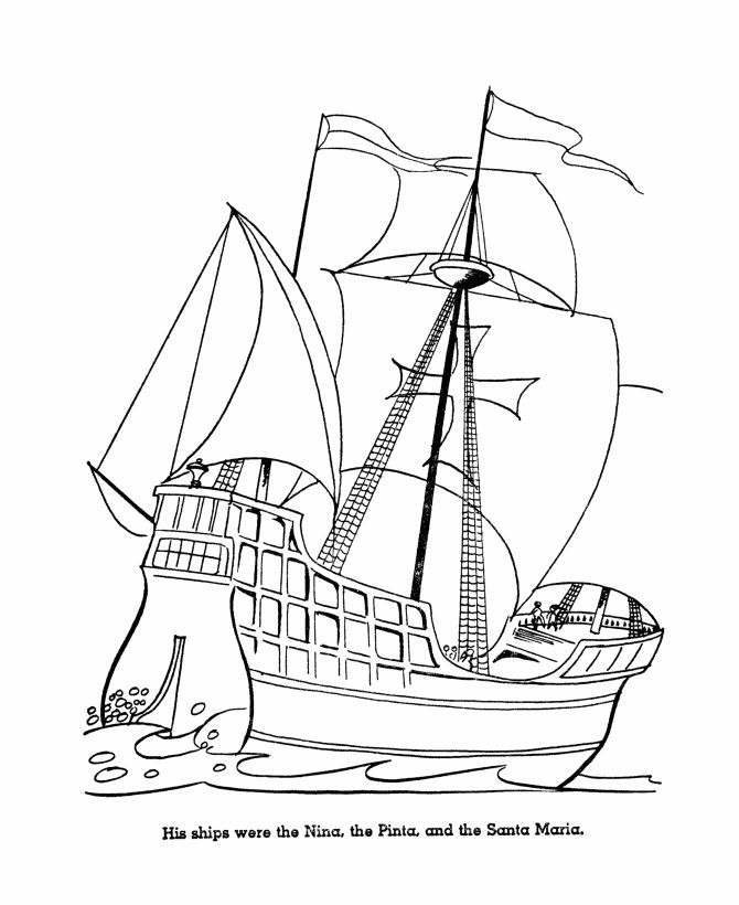 Columbus Day Ship Coloring Pages