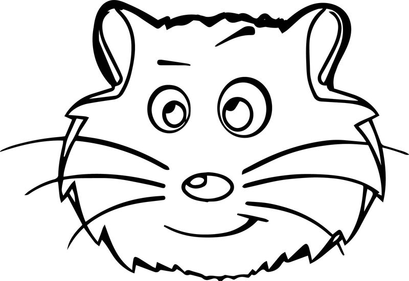 Comic Hamster Outline Face Coloring Page