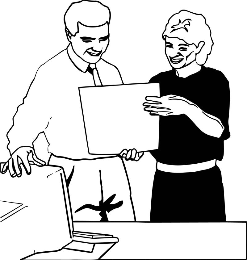 Computer Engineer Man And Woman Paper Coloring Page