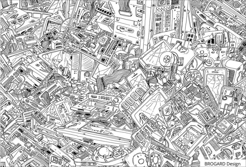 Computer Junk Adult Coloring Page