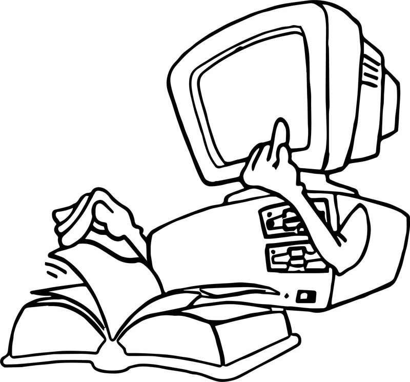Computer Reading Book Engineer Coloring Page