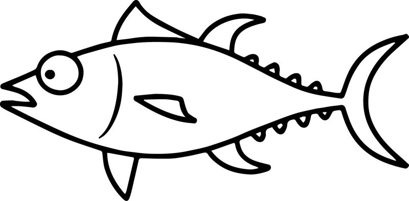 Confused Cartoon Fish Coloring Page Sheet
