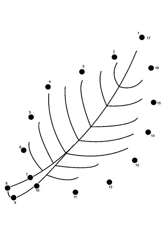 Connect The Dots Leaf Coloring Sheet
