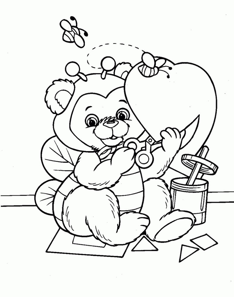 Construction Bear Valentines Day Coloring Pages
