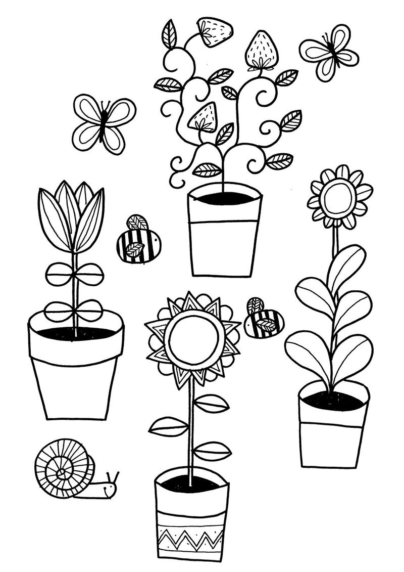Container Gardening Coloring Page