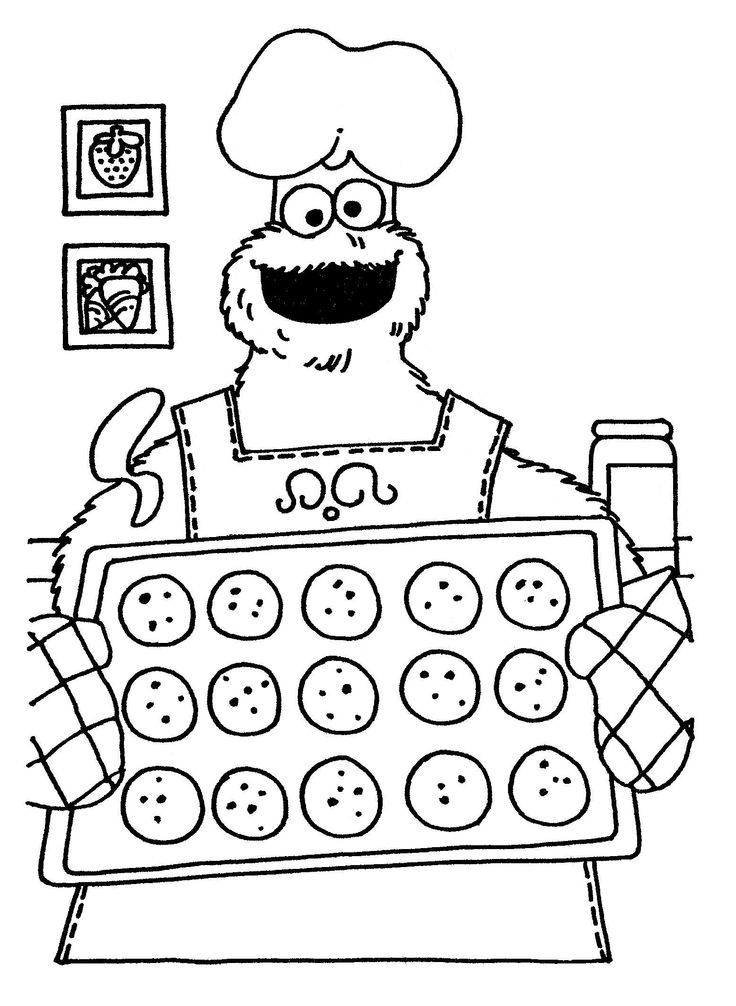 Cookie Monster Bakes Cookies Coloring Page