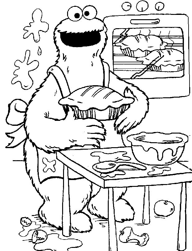 Cookie Monster Baking Pies Coloring Page
