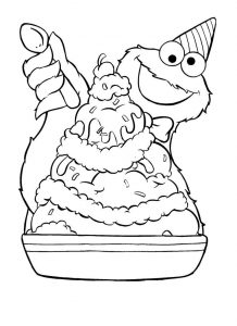 Cookie monster ice cream coloring page 001