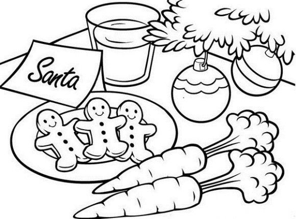 Cookies For Santa Coloring Pages 001