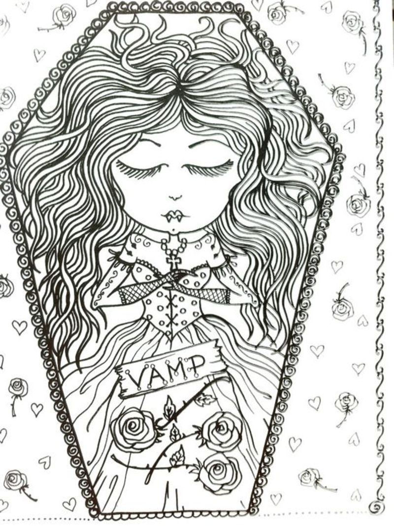 Cool Cute Vampire Girl Coloring Page