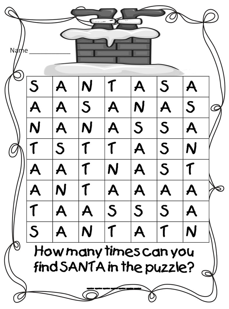 Cool Word Searches Santa