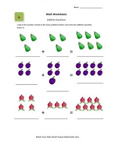 Count the fruit addition worksheets