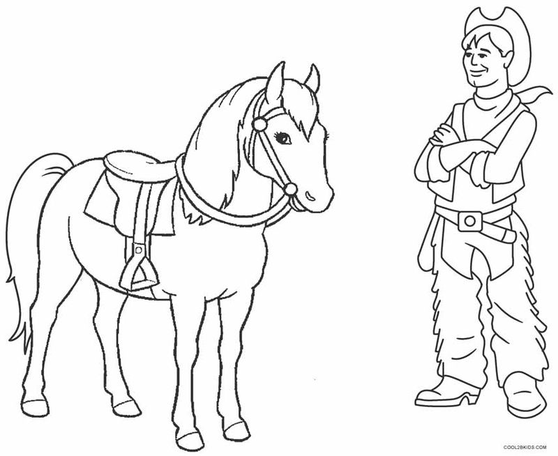 Cowboy And Pony Coloring Page