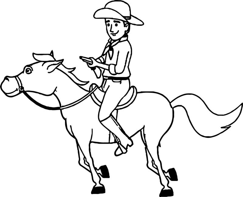 Cowboy Galloping On Horse Coloring Page - Coloring Sheets