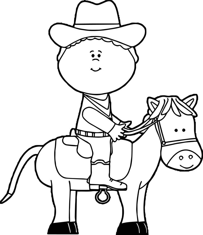 Cowboy On Horse For Kids Coloring Page