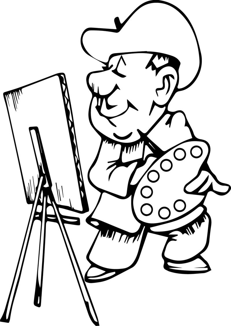 Cowboy Painter Painting Art Coloring Page