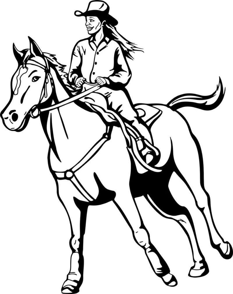 Cowgirl On Horse Coloring Page
