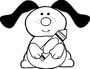 Crayon pen dog coloring page