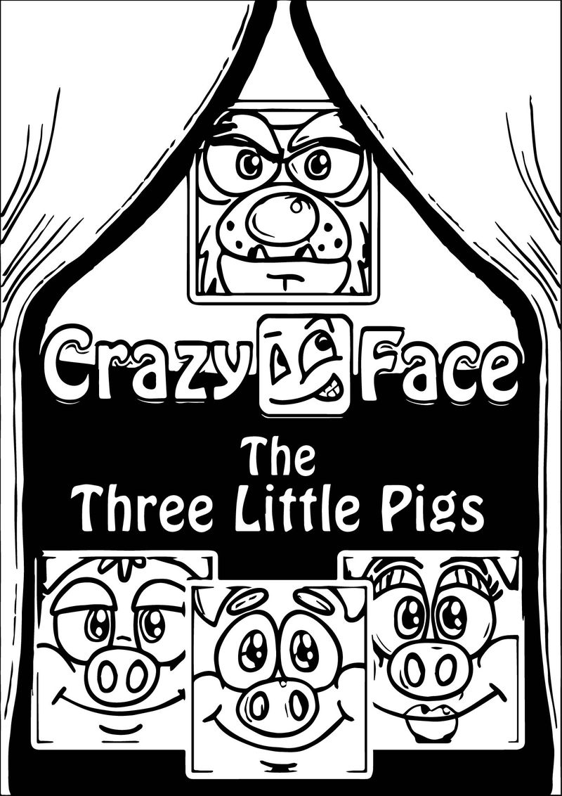 Crazy Face 3 Little Pigs Coloring Page