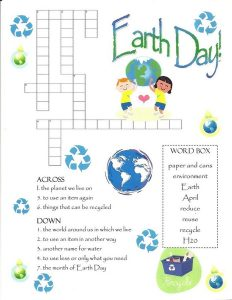 Cross word puzzles for kids earth