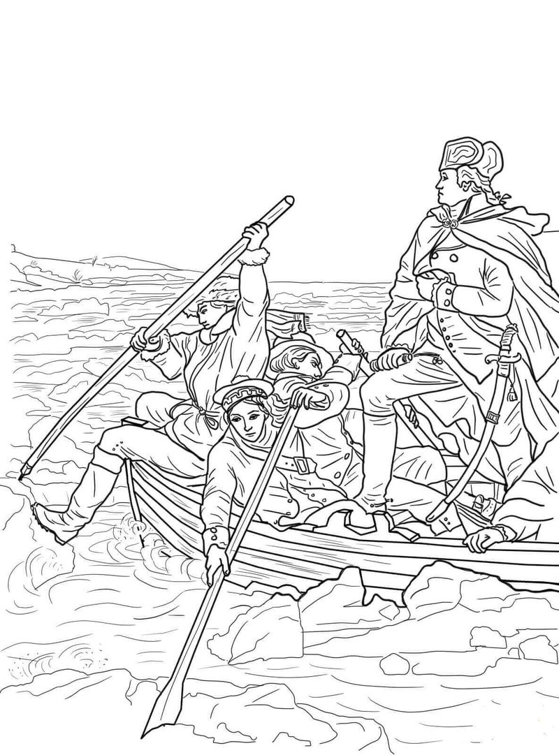 Crossing The Delaware Presidents Day Coloring Page