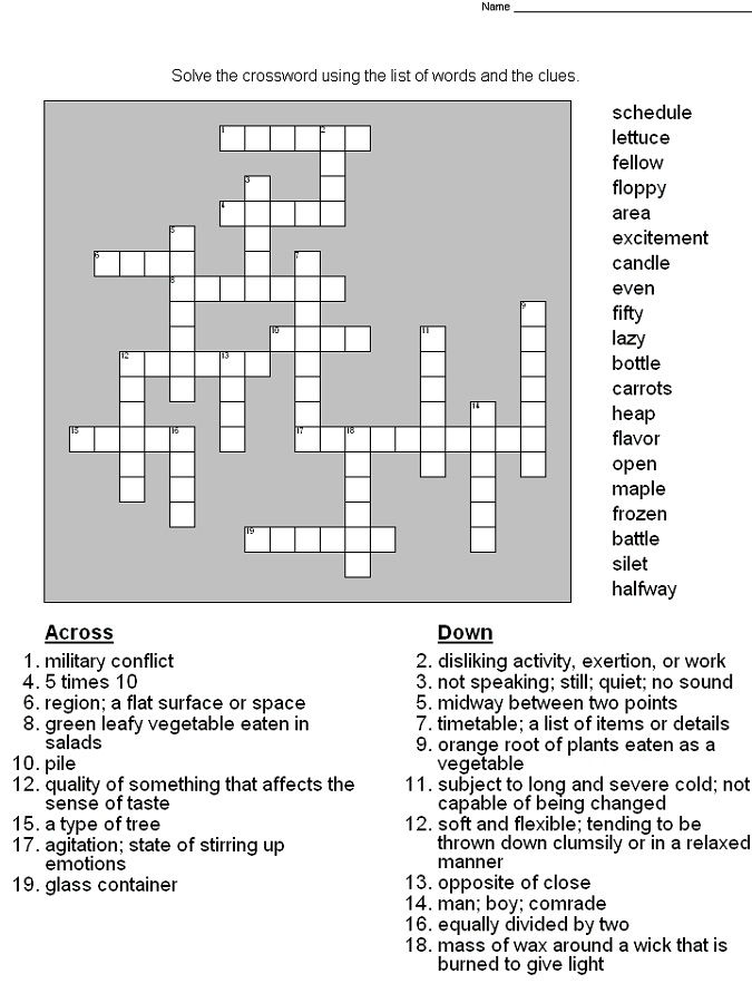 Crossword Puzzles For 5th Graders Free