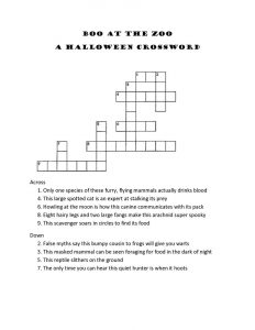 Crossword puzzles for 5th graders zoo
