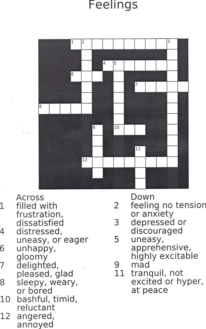 Crossword Puzzles For Kids Feeling