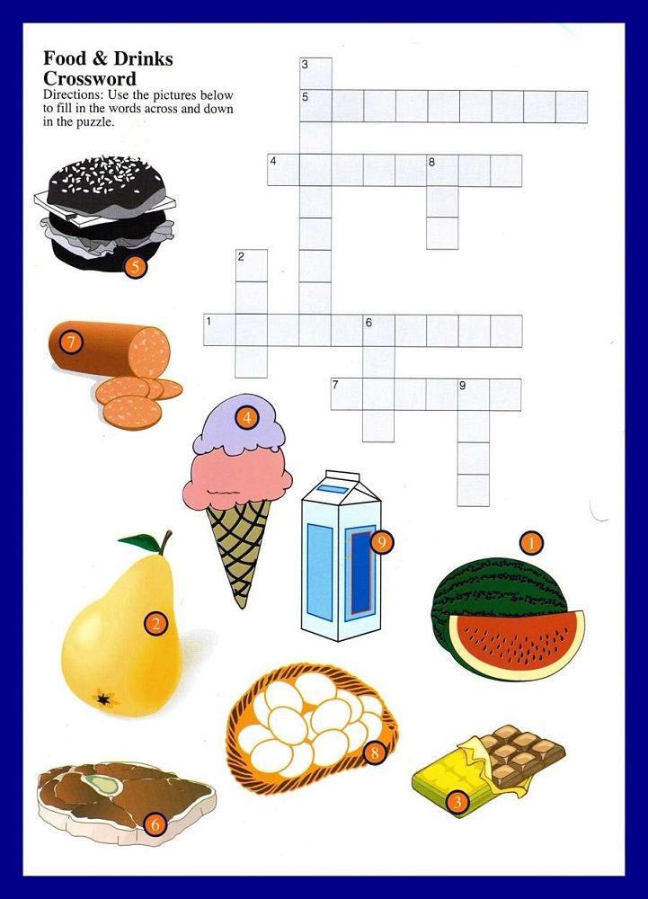 Crossword Puzzles For Kids Food