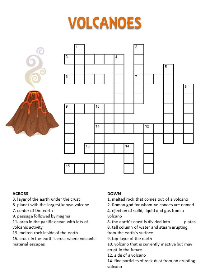 Crossword Puzzles Kids Volcano